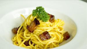 Los espaguetis a la carbonara del cocinero Andre Tumbarello.