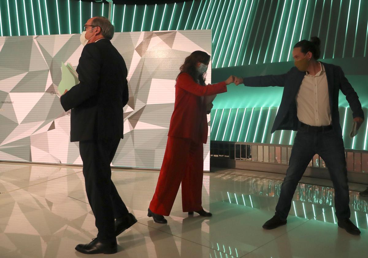 Los candidatos de PSOE, Más Madrid y Unidas Podemos el 4-M, Ángel Gabilondo, Mónica García y Pablo Iglesias, el pasado 21 de abril en el debate de Telemadrid.