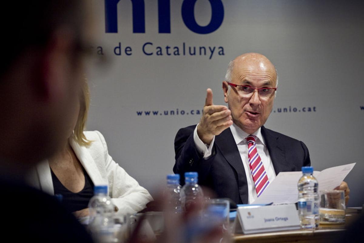 Josep Antoni Duran Lleida, en una reunión de Unió. JOAN CORTADELLAS