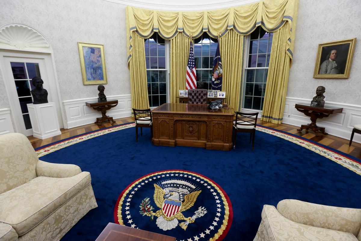 Vista general del Despacho Oval del presidente Joe Biden en la Casa Blanca