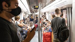 Un vagón de la línea L5 del metro, a principios de agosto.