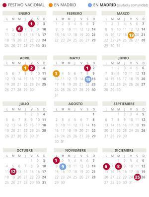 Calendario laboral de Madrid del 2021.