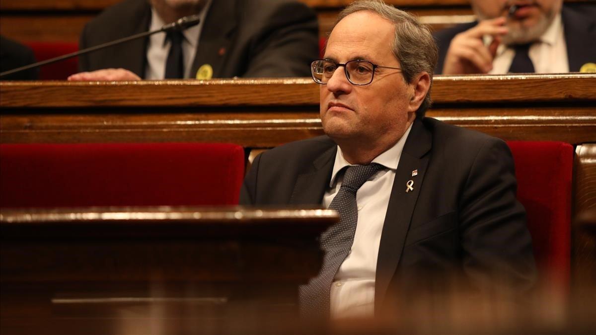 El presidentede la Generalitat, Quim Torra, en el hemiciclo del Parlament.