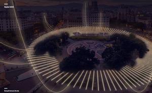 Simulación de las luces de Navidad 2021 en la plaza de Catalunya de Barcelona.