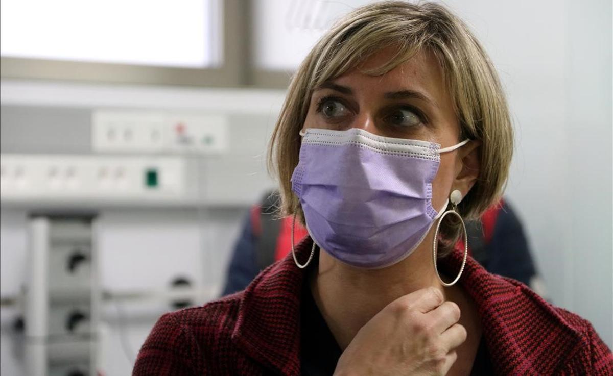 Alba Vergés, en el Hospital de Terrassa, el pasado abril