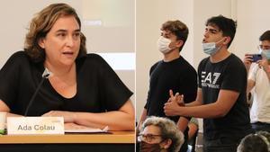 Ada Colau, increpada durante la presentación del informe 'Habitatge en temps de pandèmia'.