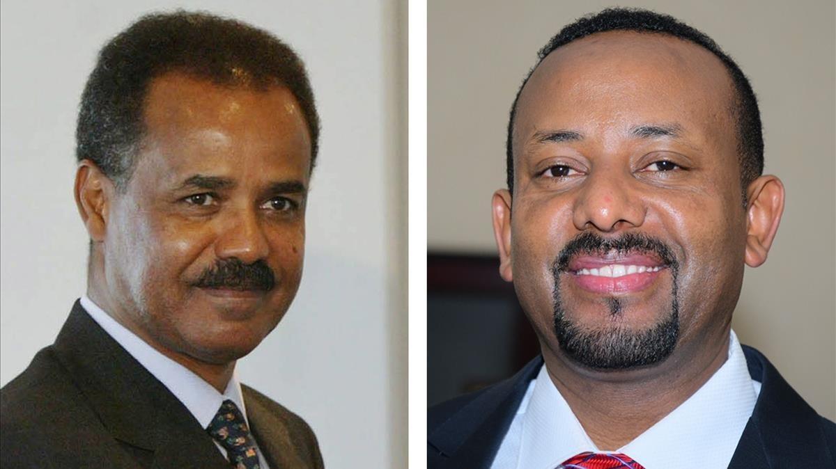 El presidente eritreo, Isaias Afwerki (izquierda) y el primer ministro etíope Abiy Ahmed (derecha)