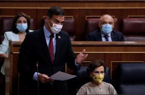 GRAF5187. MADRID, 16/09/2020.- El presidente del Gobierno, Pedro Sánchez durante su intervención en la sesión de control al Gobierno que se celebra este miércoles en el Congreso. EFE/ J.J. Guillén