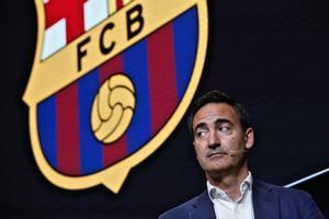 Reverter, el CEO del Barça, en la exposición de la due diligence en el Auditori 1899 del Camp Nou.