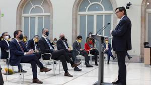 Salvador Illa, durante su intervención en el debate de investidura de Pera Aragonès.