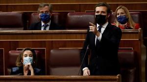 El líder del PP, Pablo Casado, durante la sesión de control en el Congreso.
