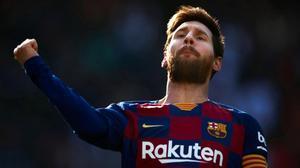 Messi celebra el primero de sus cuatro goles ante el Eibar.