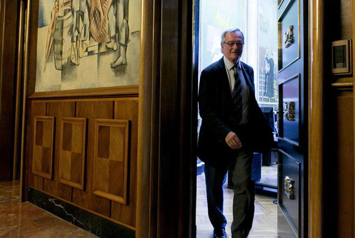El alcalde de Barcelona, Xavier Trias, a la entrada de un pleno municipal.