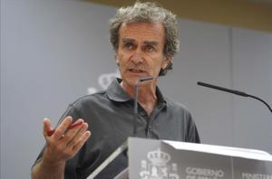 Fernando Simón durante la rueda de prensa que ofrecióesta tarde.