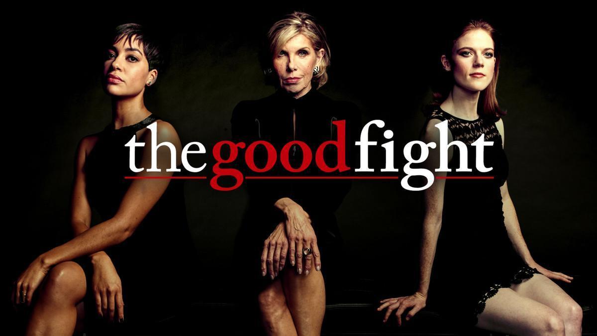 Imagen promocional de 'The Good Fight', serie de la CBS protagonizada por Christine Baranski (en el centro), Cush Jumbo (izquierda) y Rose Leslie.