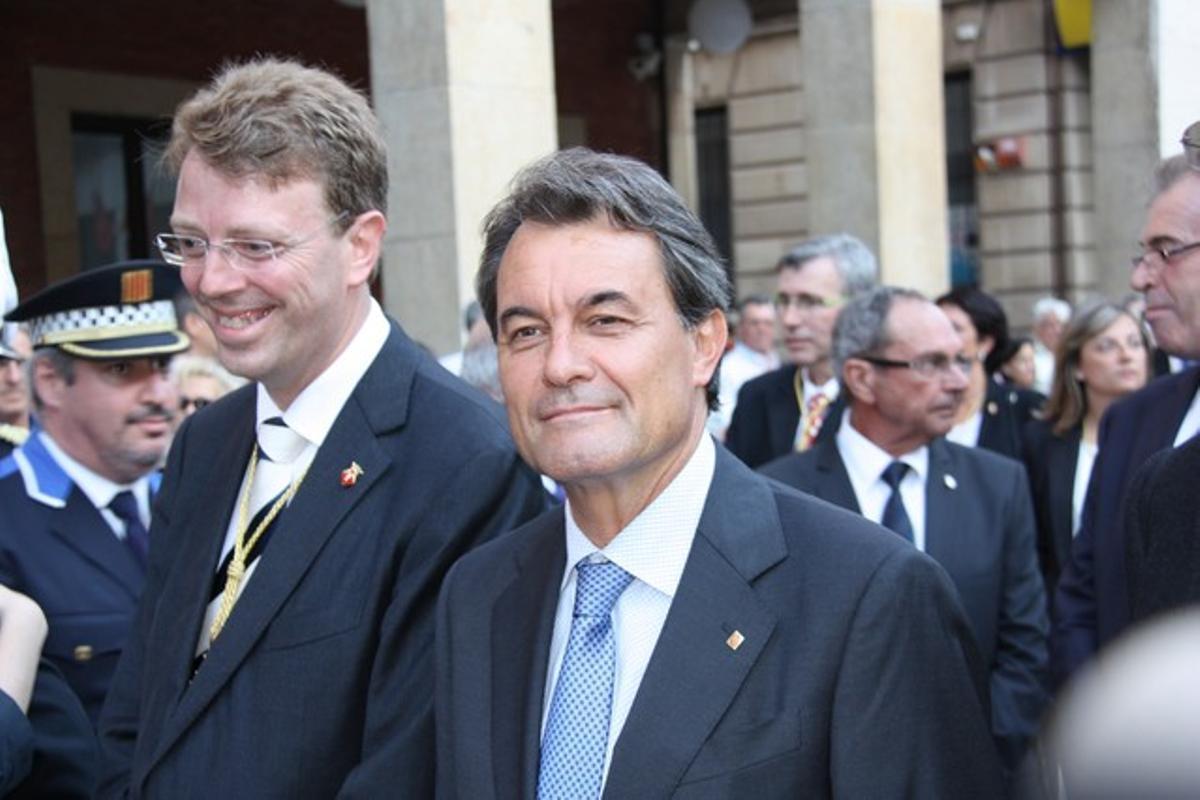 El 'president' de la Generalitat,Artur Mas, a su llegada a Tortosa, este domingo.