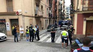 la calle en la que se ha producido el incendio, en la Barceloneta.