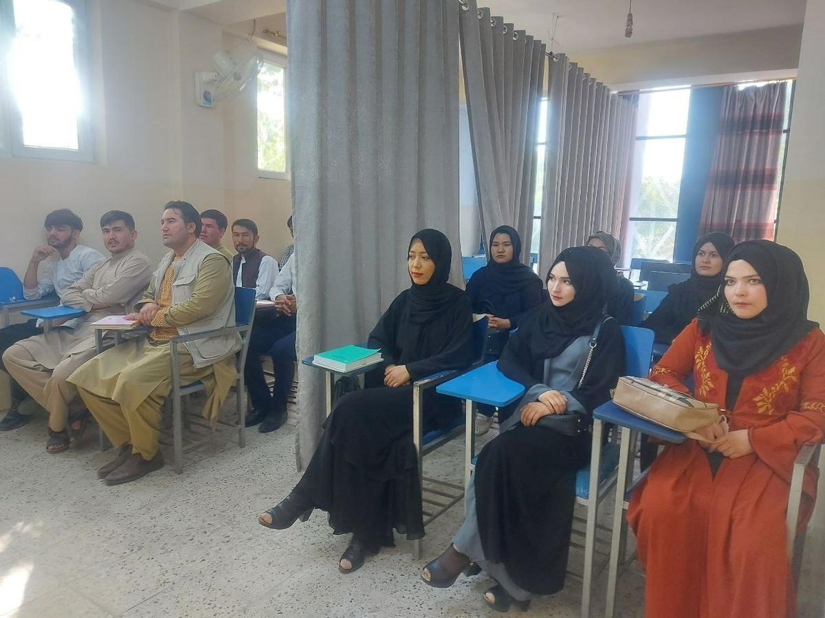Universitarios afganos separados por una cortina.