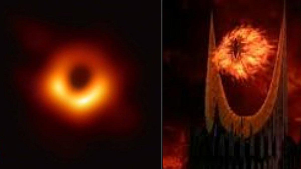 A la izquierda, la primera imagen de un agujero negro. Al lado, el ojo de Sauron de 'El señor de los anillos'.