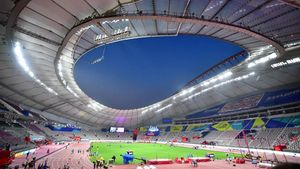 El Estadio Khalifa de Doha, en vísperas de la inauguración del Mundial de atletismo.