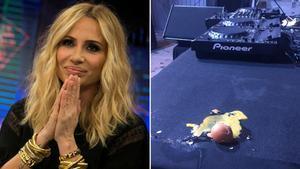 Marta Sánchez, junto a uno de los huevos lanzados al escenario durante su concierto en Badalona.