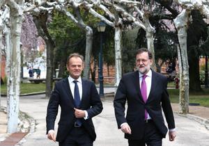 Donald Tusk y Mariano Rajoy, en marzo del 2018, en Madrid.