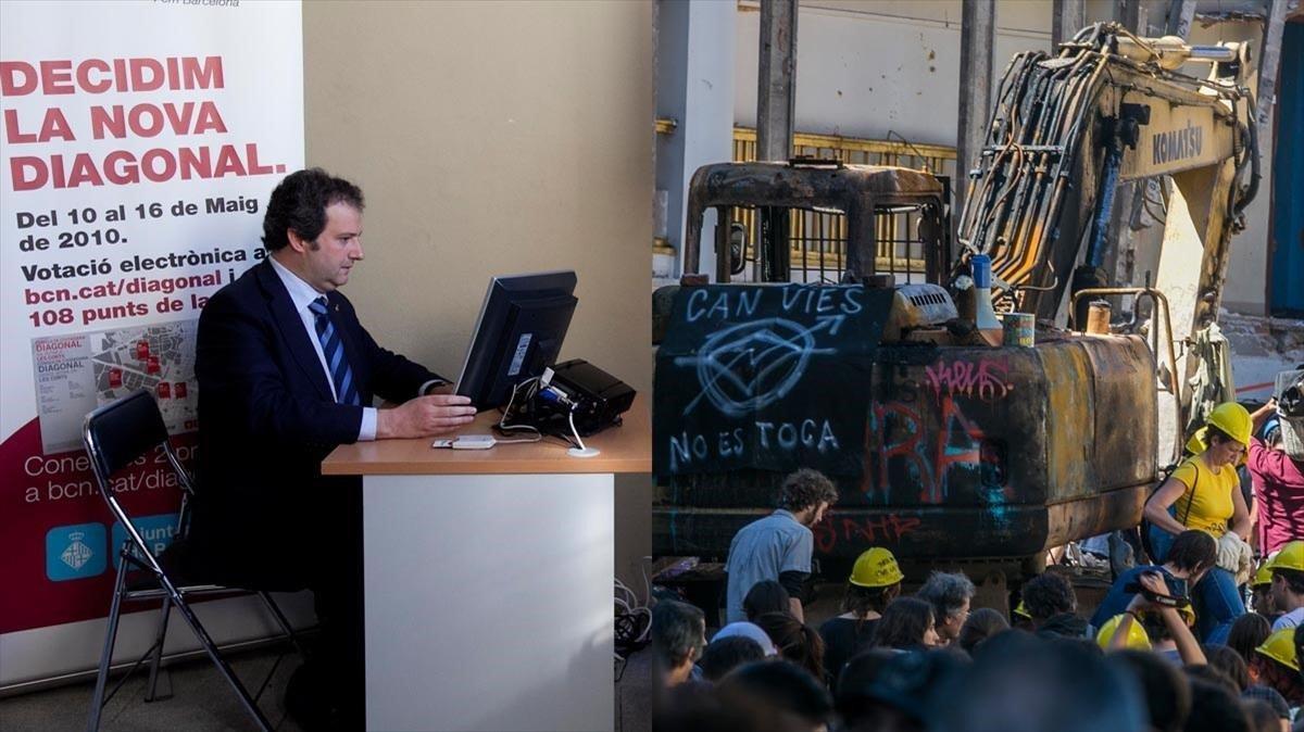 A la izquierda, Hereu votando en la consulta de la Diagonal, en el 2010. Al lado, la excavadora de Can Vies destruida, en mayo del 2014.