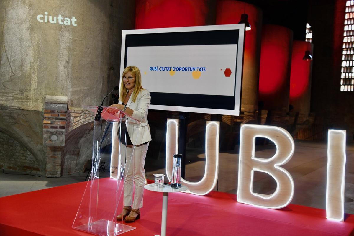 La alcaldesa, durante la presentación en El Celler