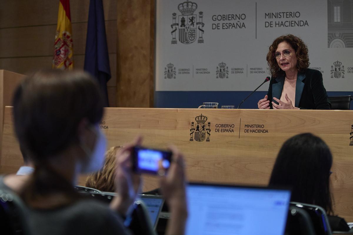 La ministra de Hacienda, María Jesús Montero, durante la presentación de los capítulos fiscales del Plan de Recuperación.