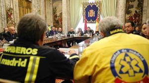 Reunión de coordinación del operativo policial para la Copa de Libertadores.