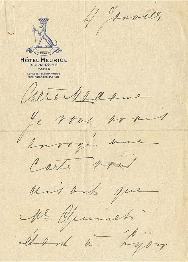 La primera cuartilla, con el sello del hotel Meurice de París.