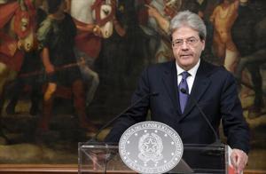 El primer ministro italiano, Paolo Gentiloni, durante una rueda de prensaen Roma.