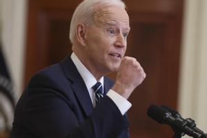 El presidente de EEUU, Joe Biden, durante su primera rueda de prensa en la Casa Blanca, este jueves.