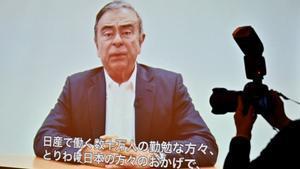 Carlos Ghosn en el video gabado antes de su detención.