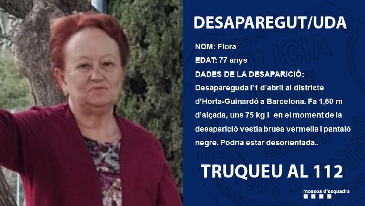 Flora, la mujer desaparecida en Horta-Guinardó.