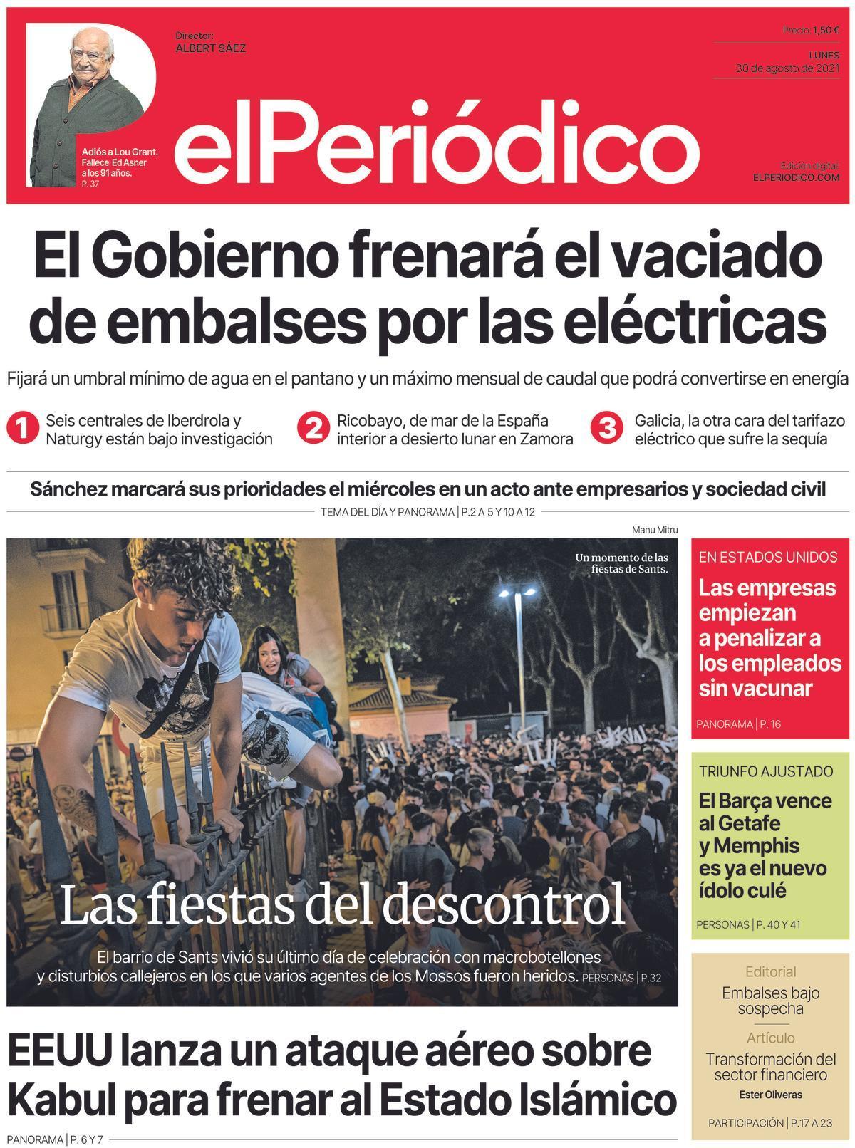 La portada de El PERIÓDICO del 30 de agosto de 2021