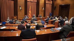 Reunión de la mesa de partidos en el Parlament, el 15 de enero del 2021, para tratar el aplazamiento de las elecciones.