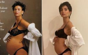 Demi Moore en la imagen de 'Vanity Fair'y Emili Ratajkowkien su foto de homenaje.