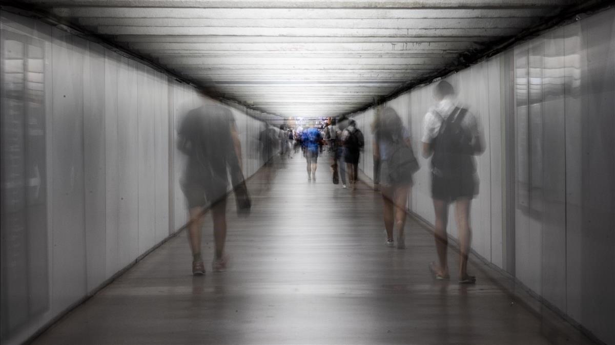 Transbordo de las estaciones de metro de Passeig de Gràcia.