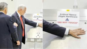 Mike Pence coloca su mano en un equipo de la NASA a pesar de la advertencia 'No tocar'.
