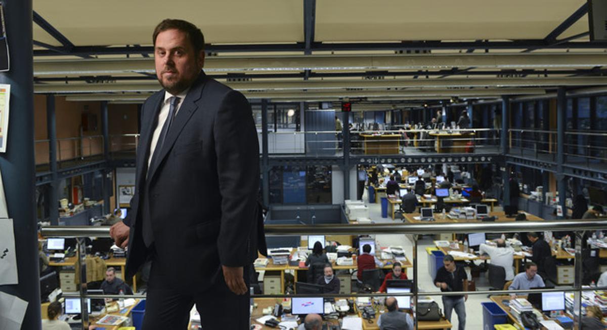 Oriol Junqueras en la redacción de EL PERIÓDICO.
