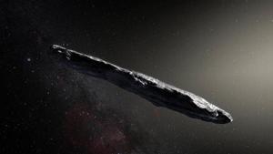 Recreación artística del asteroide 'Oumuamua' elaborada para la NASA.