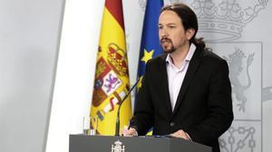 El vicepresidente segundo, Pablo Iglesias, en la Moncloa.