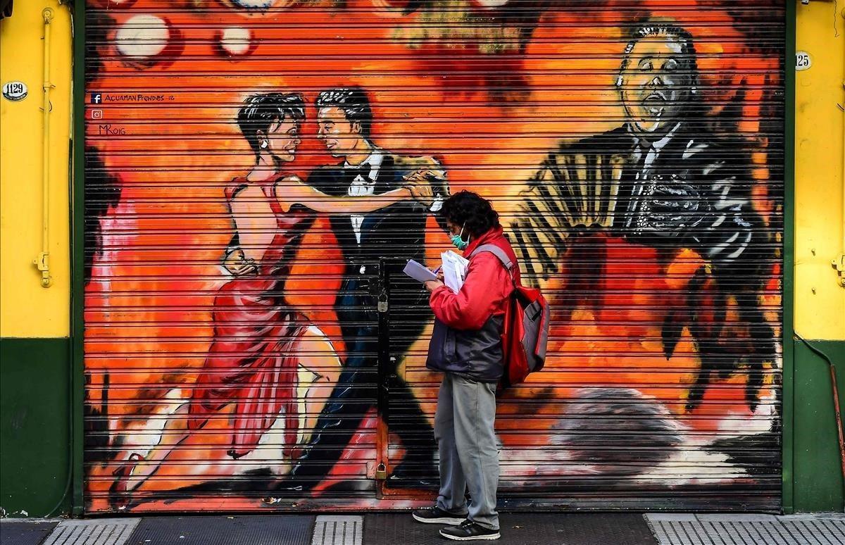 Mural dedicado al tango en Buenos Aires.