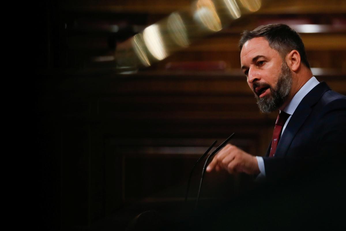 El líder de Vox, Santiago Abascal, en el Congreso este miércoles