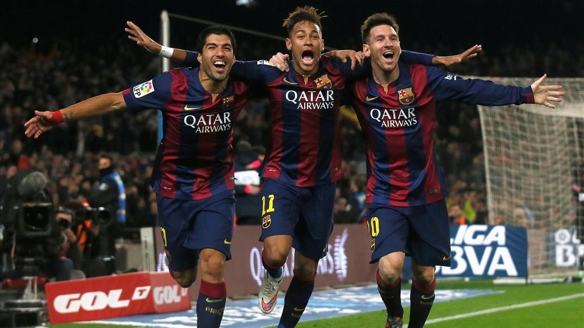 Suárez, Neymar y Messi celebran un gol al Atlético en enero del 2015.