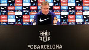 Koeman, en la sala de prensa de la ciudad deportiva del Barça.