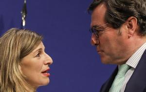 La ministra de Trabajo, Yolanda Díaz, y el presidente de CEOE, Antonio Garamendi.