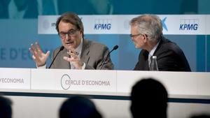 Artur Mas i Anton Costas al Cercle d'Economia el febrer passat.