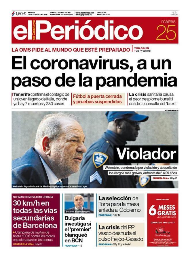La portada de EL PERIÓDICO del 25 de febrero del 2020.